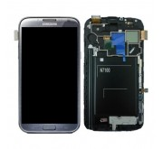 Samsung N7100 Galaxy Note II Compleet Unit frontcover + LCD display + display glas + Touchscreen Titanium Grey Origineel