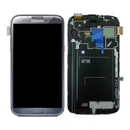 Samsung N7100 Galaxy Note II Compleet Unit frontcover + LCD display + display glas + Touchscreen Titanium Grey Origineel