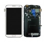 Samsung N7100 Galaxy Note II Compleet Unit frontcover + LCD display + display glas + Touchscreen Marble White Origineel